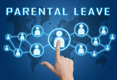 Parental Leave - text concept with hand pressing social icons on blue world map background.