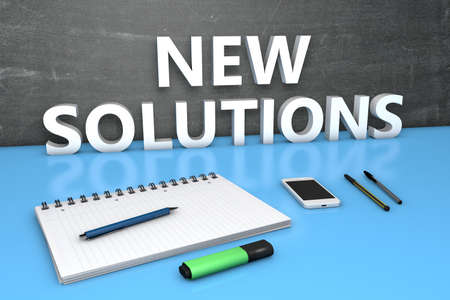 New Solutions - text concept with chalkboard, notebook, pens and mobile phone. 3D render illustration.