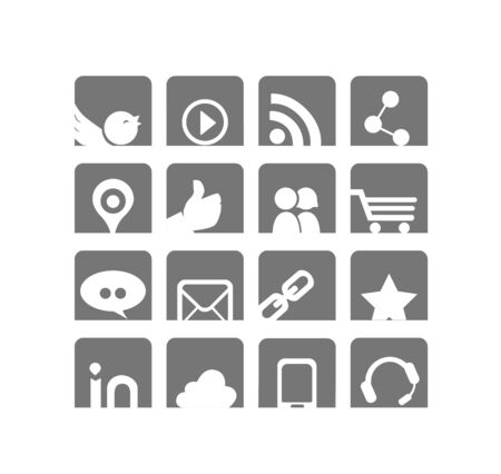 Some simple vector social networks and web icons, reworked in a minimalist and elegant style, white and gray.
