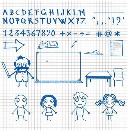 Satz von vektorkindlichen Zeichnungen, Charakteren und Objekten. Zeichensammlungen für grafische Inhalte, Webinhalte, Videoinhalte, Aufkleberdruck. Vektorgrafik