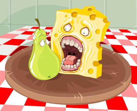 A slice of cheese going to eat a scared pear. Both on a circular wooden board, placed on a table with a checkered tablecloth.