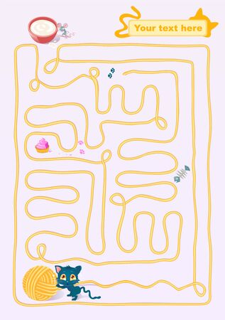 A kitten playing with a clew, creating a maze in which he lose himself.