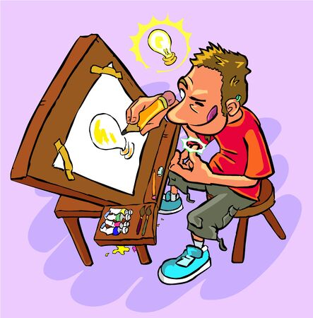 Illustrator at work on his desk who has an idea for his illustration; draws the light bulb itself of the idea that appears on his head. Illusztráció