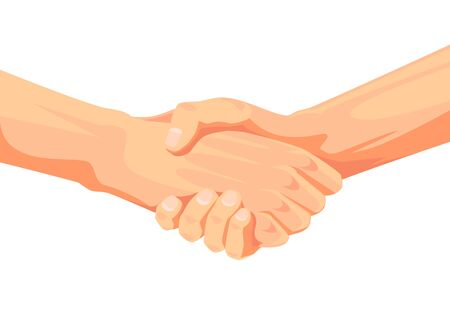 Handshake between two adults. Two hands up above the wrist, without sleeves. White background. Vector illustration.