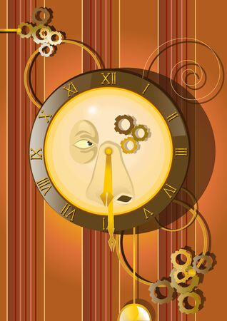 Old and visionary wall pendulum clock with face on the wall with wallpaper. Roman numbers for hours and minutes. Pendulum below and some gears and decorations around the figure. Raster illustration. Stockfoto