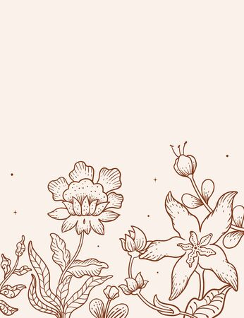 hand drawn illustration vector graphic of Batik flower background