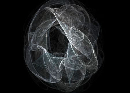 The smoke ring isolated on black.