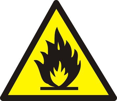 Flame warning sign isolated on white. Large size!