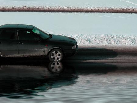 Flood. European car in water