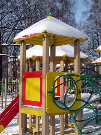 A playground on winter sunny day.