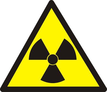 Dangerously. Radioactive substances or an ionizing radiation. Isolated on white. photo
