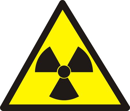 caution chemistry: Dangerously. Radioactive substances or an ionizing radiation. Isolated on white.