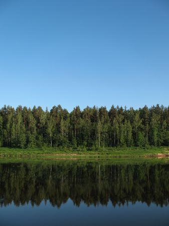 Latvian biggest river - Daugava. Vertical view. Stock Photo