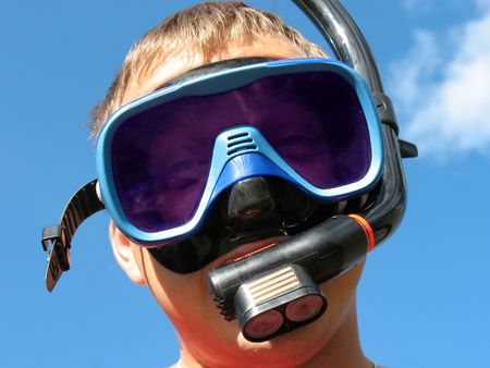 Man in a diving mask. Funny picture. Stock Photo