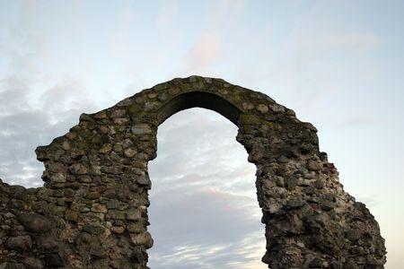 Ruins of old castle Rezekne in Latvia. Stock Photo