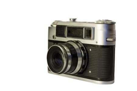 Manual film camera. With 52mm f2.8 lense. Isolated on white.
