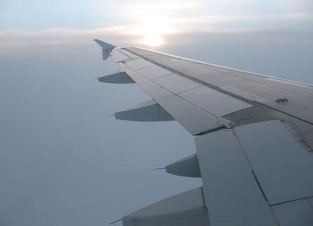 Foggy scene from plane window. Stock Photo