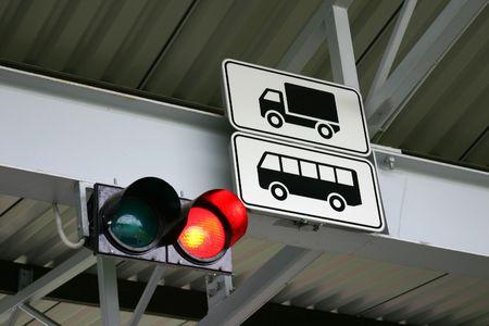 Traffic light for tucks and buses.