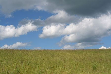 Rainy clouds and meadow.