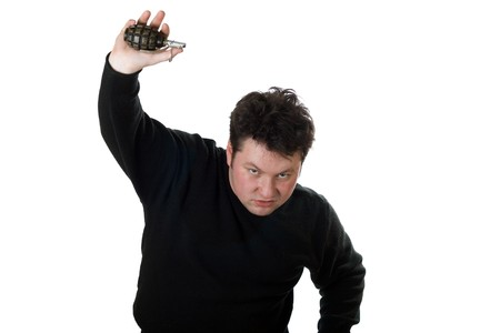 Caucasian man with hand grenade isolated on white. Stock Photo - 3957508