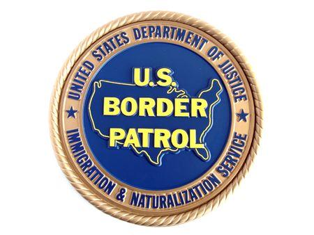 blue border: U.S. border patrol emblem. Isolated on white background.