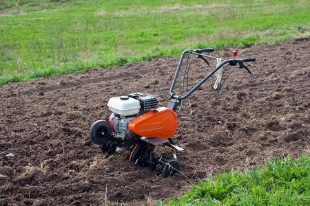 cultivator: Cultivator on a field.