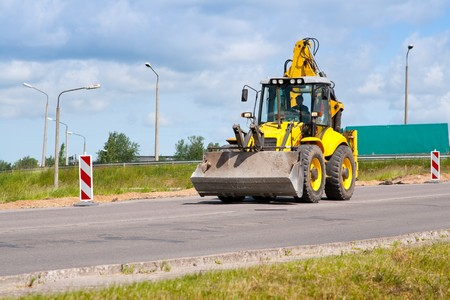 Bulldozer on a road. photo