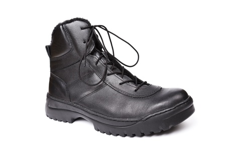 rubber sole: Special forces`s boot isolated on white. Stock Photo