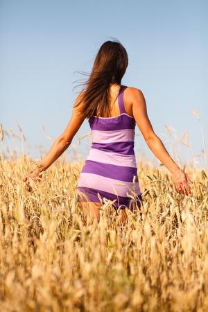 woman in field: Brunette sexy girl in short dress at wheat field.