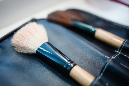 Make-up artist brush set in leather case. Stock Photo