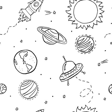 Black and white cosmic vector seamless pattern. Space texture for baby boy stuff design. Cute pattern with hand drawn elements for covers, wall paper, wrapping paper, fabric and other child designs