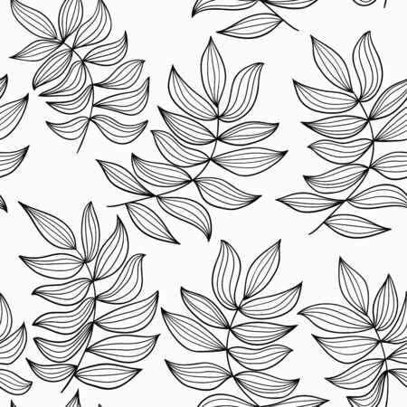 Black and white seamless vector pattern, elegant pattern with leaves motives. Pattern for textile, linen, fashion, wallpaper and backgrounds