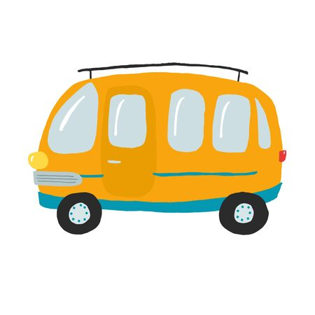 Cute orage bus, vector illustration for prints, posters, cards, table games, cards, memory game, stickers. Hand drawn van in flat style.