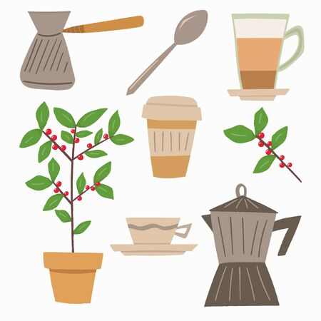 Colorful vector set, vector illustration with coffee concept. Flat design set can be used for advertising, menu, posters, stickers. Coffee tree in a pot with red coffee beans