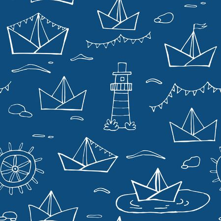 Nautical seamless vector pattern. White lines upon blue background for fabric, wrapping paper, backgrounds, covers, scrapbooking paper. Chalk-board imitation