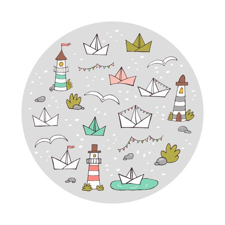 Round doodle composition of cute hand drawn lighthouses and paper ships. Colorful vector illustration for prints, cards, covers and other designs. Eps 10