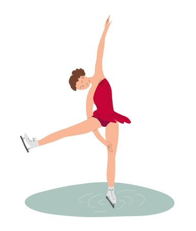 Vector illustration, a girl in red dress dancing on ice. Figure skating concept illustration concept for posters, cards,   and other designs