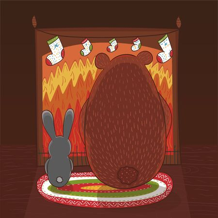 Brown bear and bunny are sitting in front of fireplace. Fireplace is decorated with Christmas socks. Vector illustration for cards, posters, banners and other designs