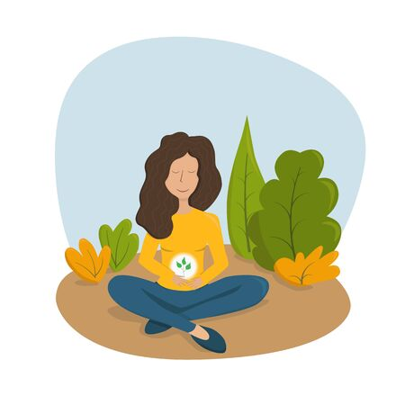 Vector illustration, beautiful girl practicing yoga outside. Inner balance concept. Healthy modern lifestyle. Inner plant cultivation.