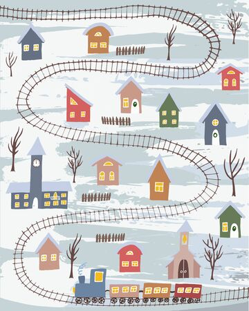 Cute winter village with colorful houses and rail road with train. Hand drawn winter countryside for cards, posters and other designs Stock Illustratie