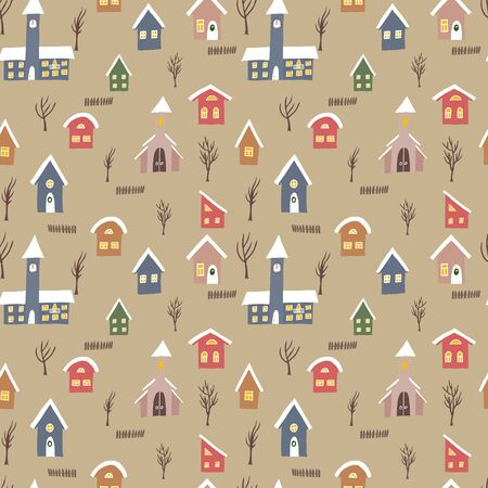 Seamless vector pattern with colorful houses and rail road with train upon craft background. Hand drawn winter countryside for backgrounds, wrapping paper and other designs Stock Illustratie