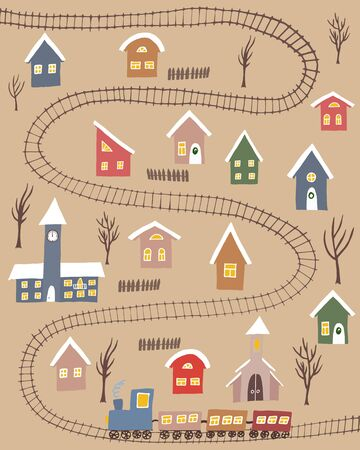 Winter village with colorful houses and rail road with rtain upon craft background. Hand drawn winter countryside for cards, posters and other designs