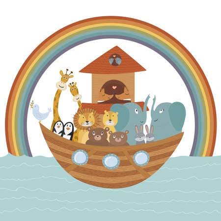 Vector illustration with Noah's Ark, Bible story concept for kids. Cute poster can be used for different designs, covers, nursery decorations, sunday school activities