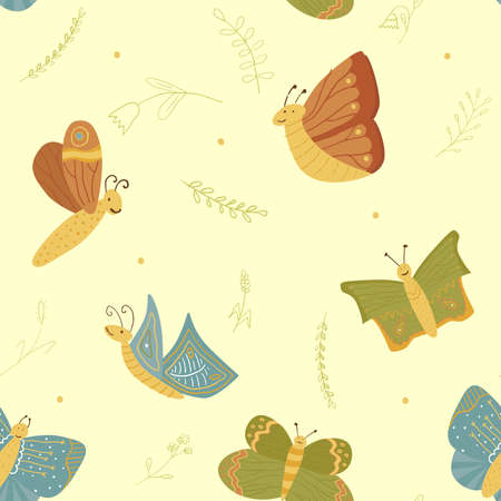 Vector seamless pattern with butterflies. Hand drawn ornament for fabrics, linen, wrapping paper and other surface designs. Tender colors and cute elements for your design