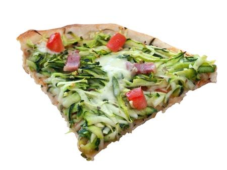 Slice of colorful pizza with mozzarella and zucchini