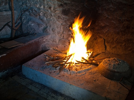 Glowing indoor fireplace Stock Photo - 13164651