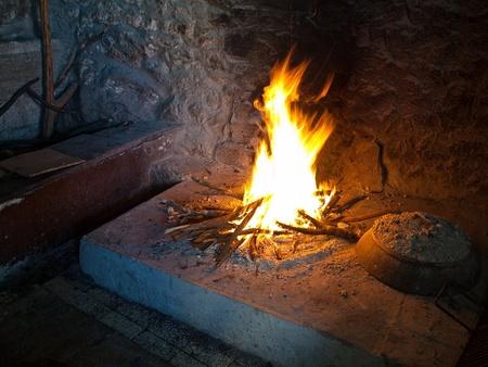 Glowing indoor fireplace Stock Photo - 13164651