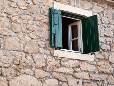 Stone house exterior close up
