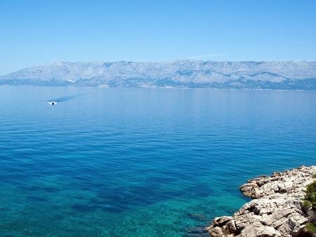 View at blue Adriatic sea and mountain Biokovo photo
