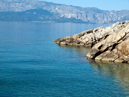 View at blue Adriatic sea from the coast photo